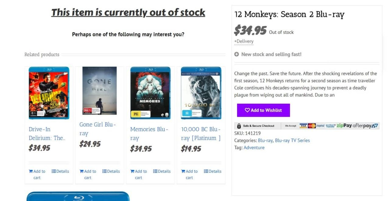a better Woocommerce out of stock message
